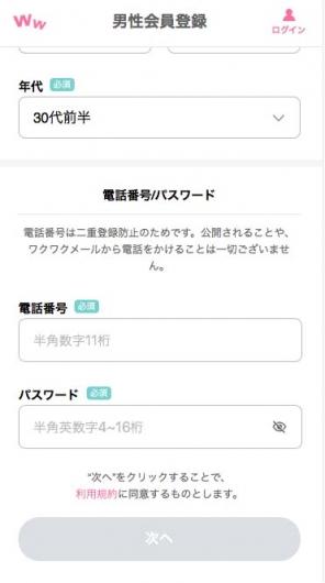 ワクワクメール男性会員登録プロフィール02